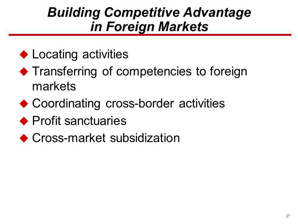 Building Competitive Advantage in Foreign Markets