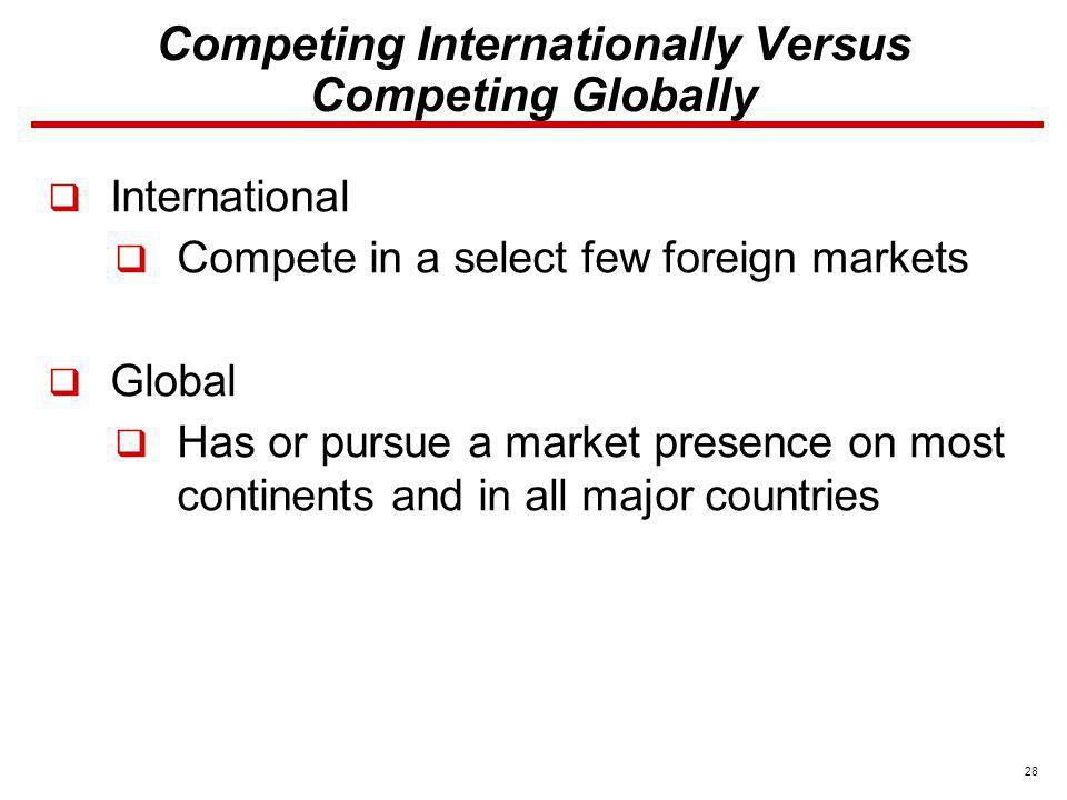 Competing Internationally Versus Competing Globally