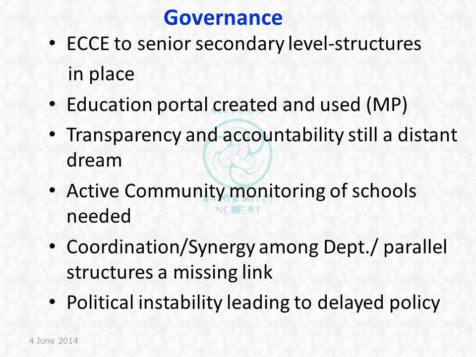Governance ECCE to senior secondary level-structures in place