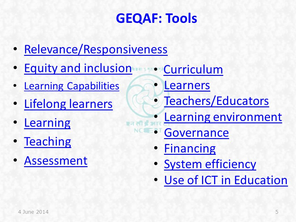GEQAF: Tools Relevance/Responsiveness Equity and inclusion