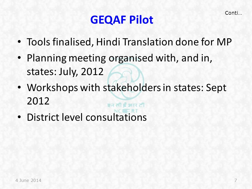 GEQAF Pilot Tools finalised, Hindi Translation done for MP