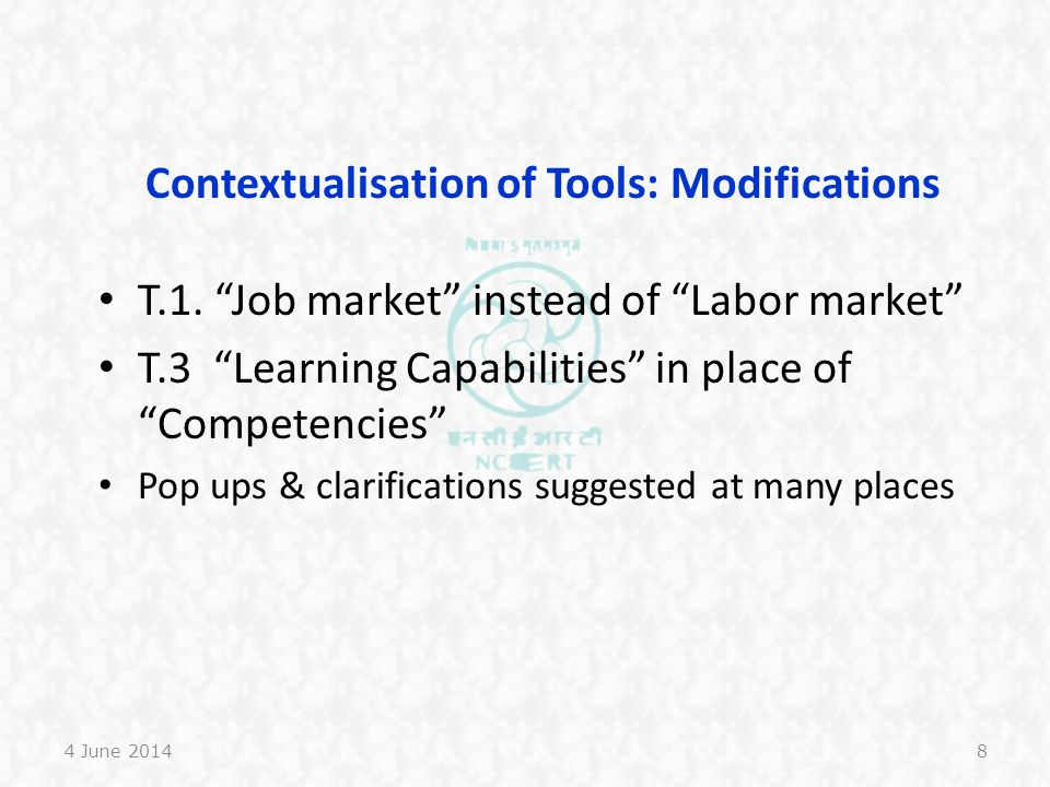 Contextualisation of Tools: Modifications