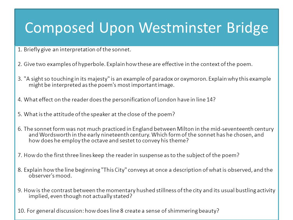 Composed Upon Westminster Bridge