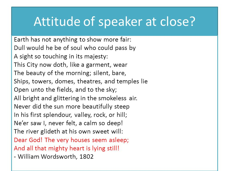 Attitude of speaker at close