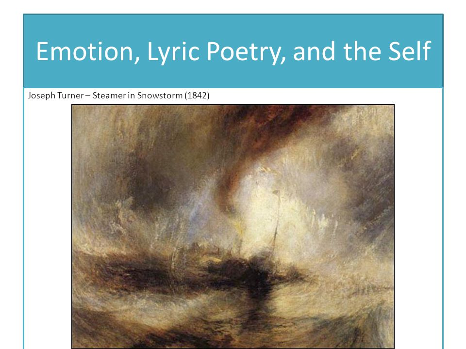 Emotion, Lyric Poetry, and the Self