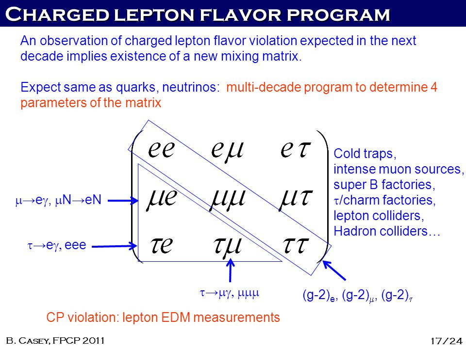 Charged lepton flavor program