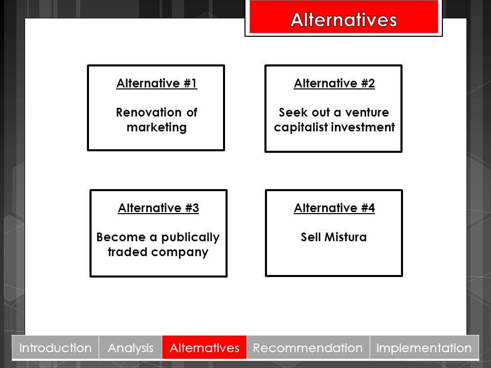 Alternatives Alternative #1 Renovation of marketing Alternative #2