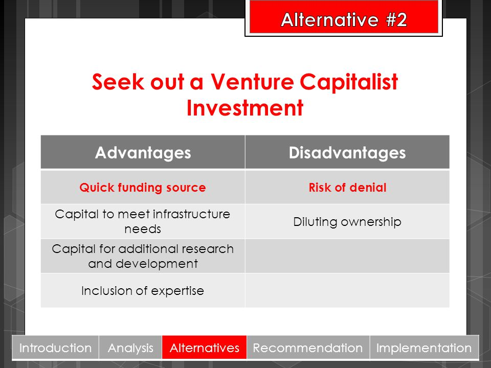 Seek out a Venture Capitalist Investment