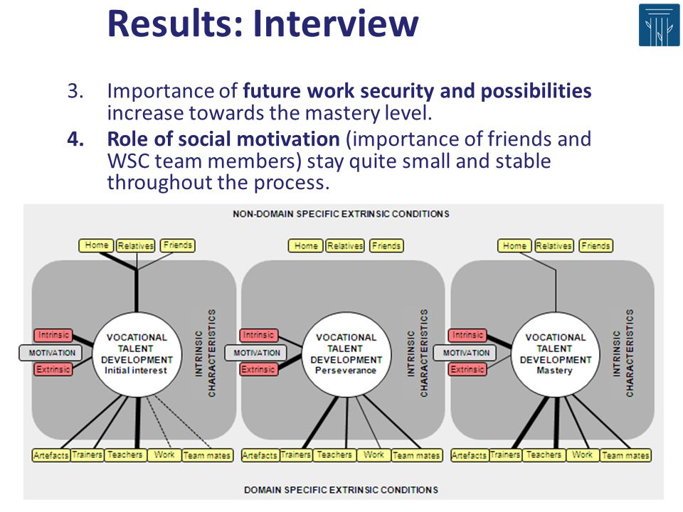 Results: Interview Importance of future work security and possibilities increase towards the mastery level.