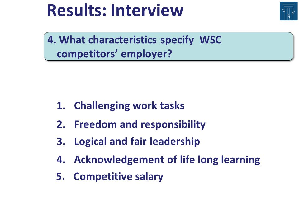 Results: Interview 4. What characteristics specify WSC competitors' employer Challenging work tasks.