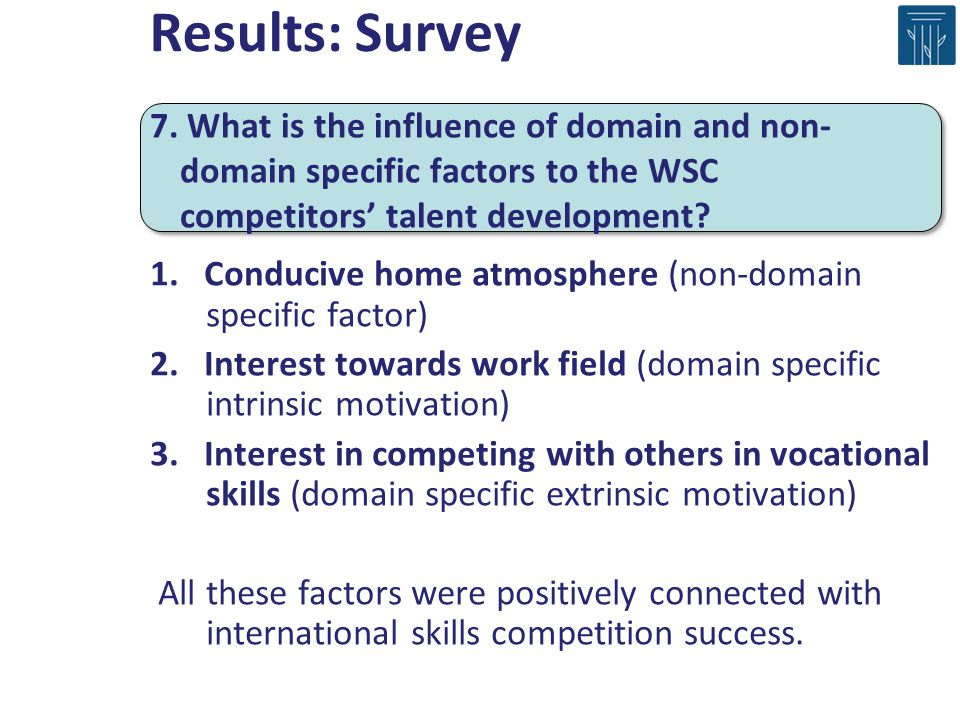 Results: Survey 7. What is the influence of domain and non-domain specific factors to the WSC competitors' talent development