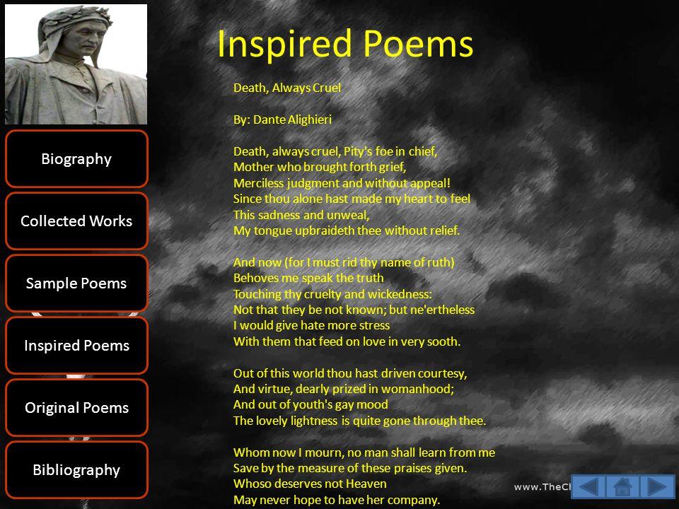 Dante Alighieri Biography Collected Works Sample Poems