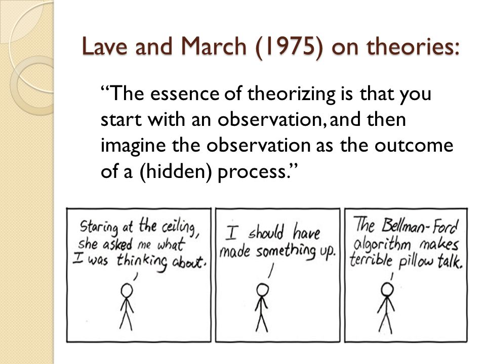 Lave and March (1975) on theories: