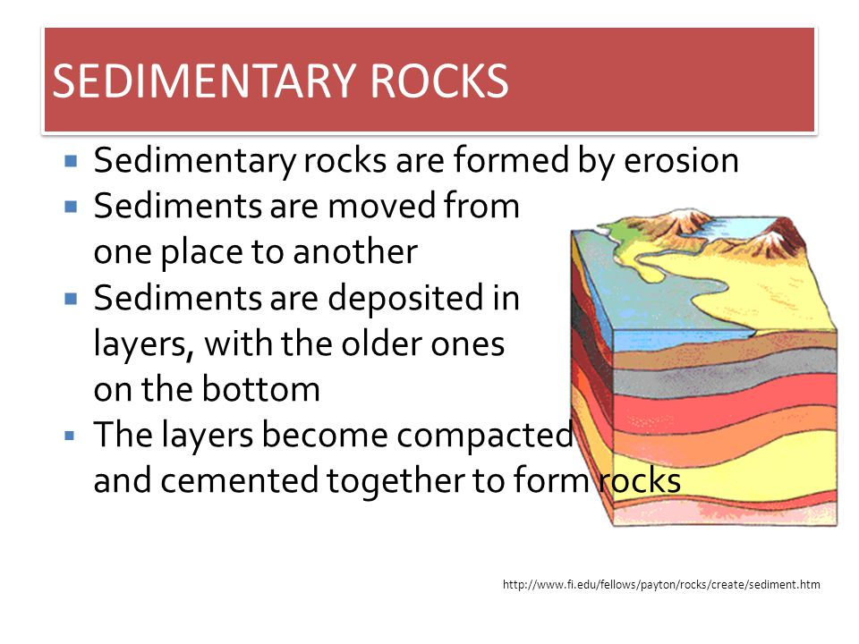 SEDIMENTARY ROCKS Sedimentary rocks are formed by erosion