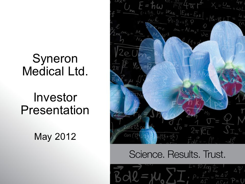 Syneron Medical Ltd. Investor Presentation May 2012