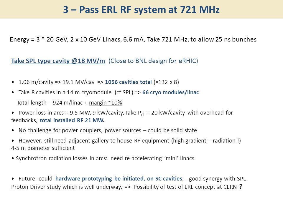 3 – Pass ERL RF system at 721 MHz