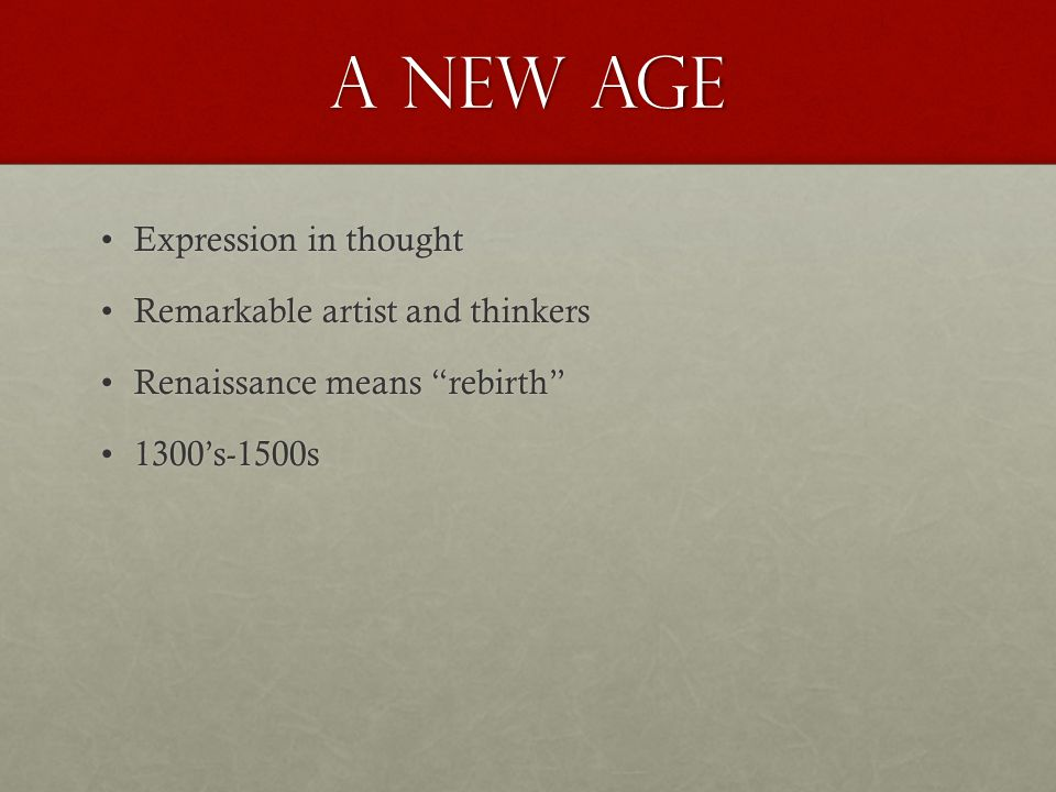 A New Age Expression in thought Remarkable artist and thinkers