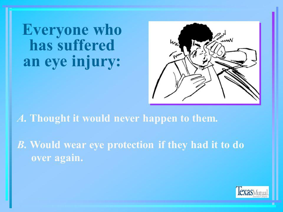 Everyone who has suffered an eye injury: