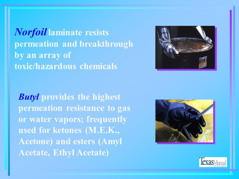 Norfoil laminate resists permeation and breakthrough by an array of toxic/hazardous chemicals