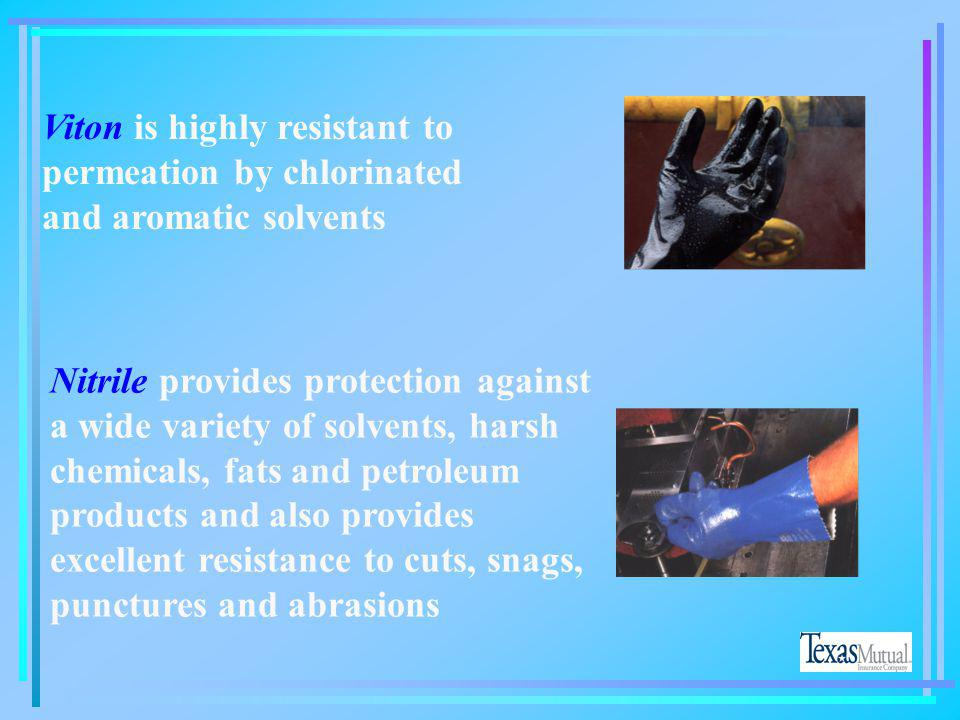 Viton is highly resistant to permeation by chlorinated and aromatic solvents