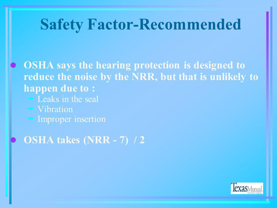 Safety Factor-Recommended