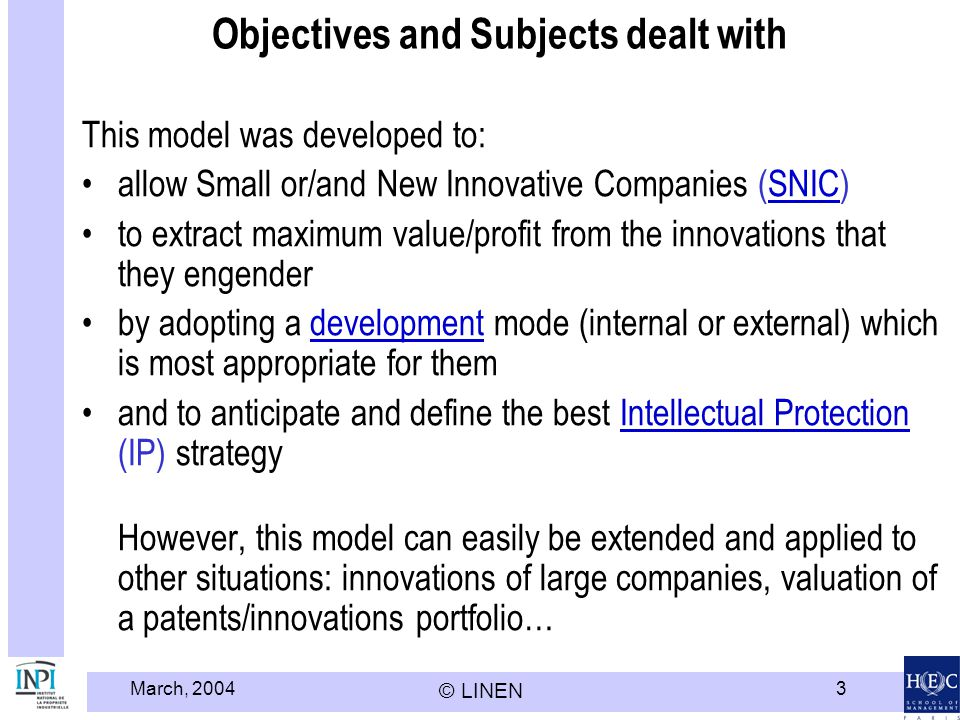 Objectives and Subjects dealt with