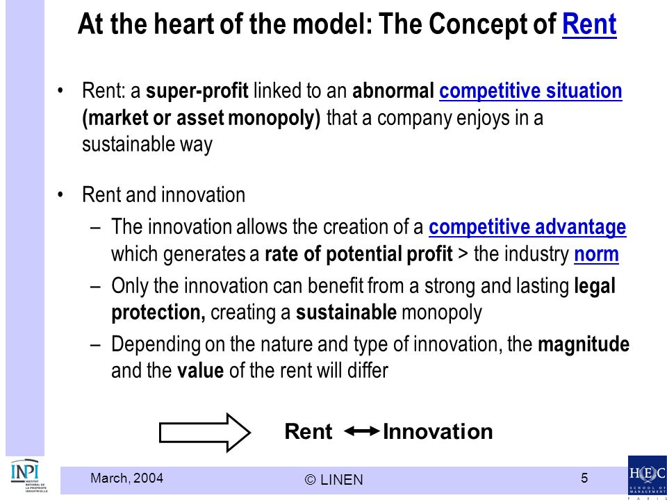 At the heart of the model: The Concept of Rent
