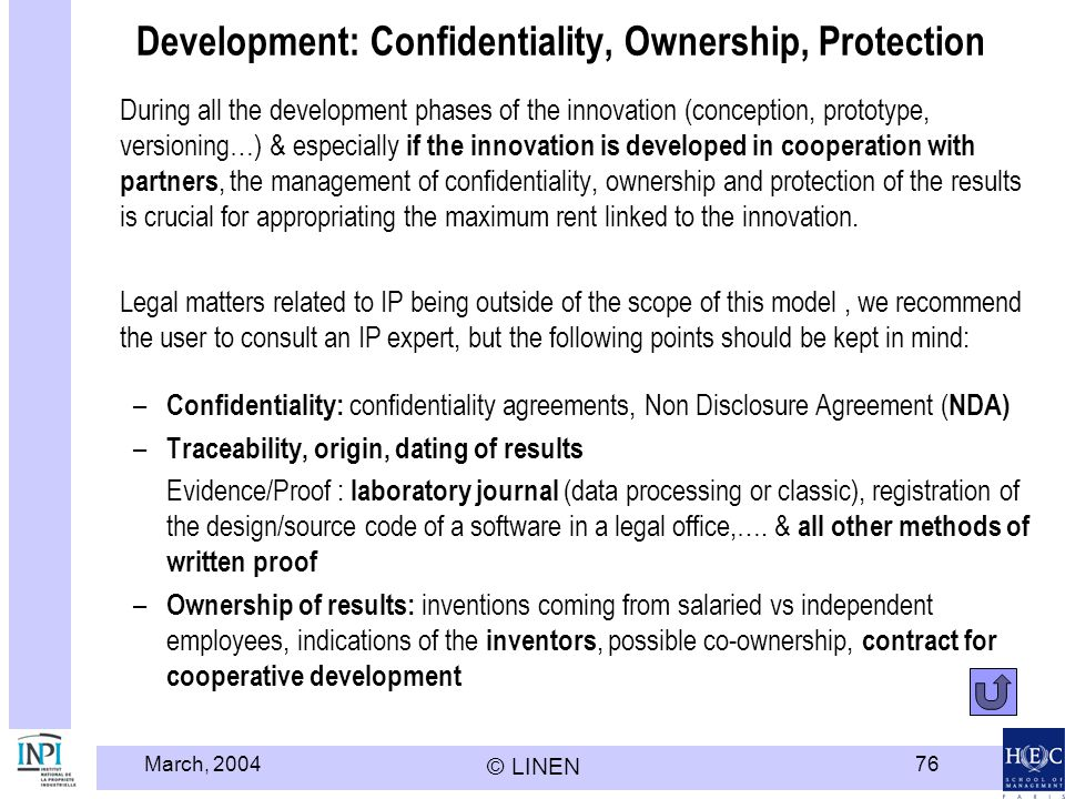 Development: Confidentiality, Ownership, Protection