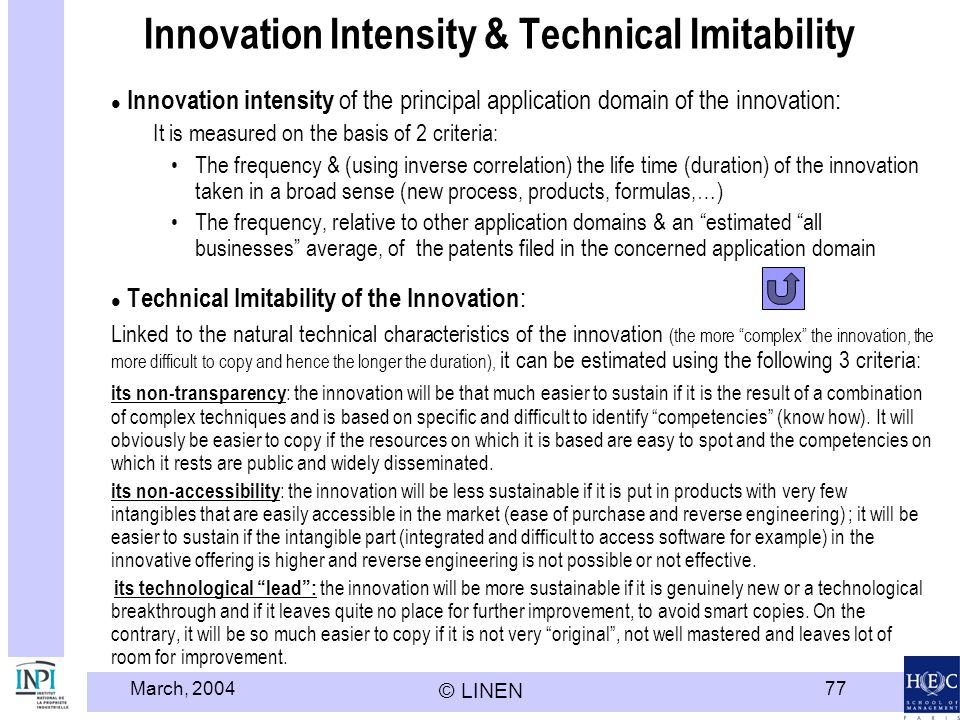 Innovation Intensity & Technical Imitability