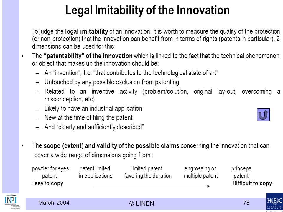 Legal Imitability of the Innovation