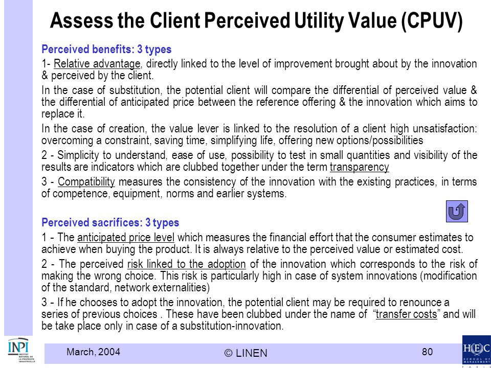 Assess the Client Perceived Utility Value (CPUV)