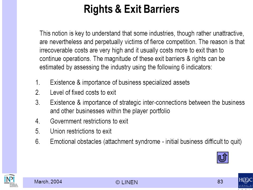 Rights & Exit Barriers