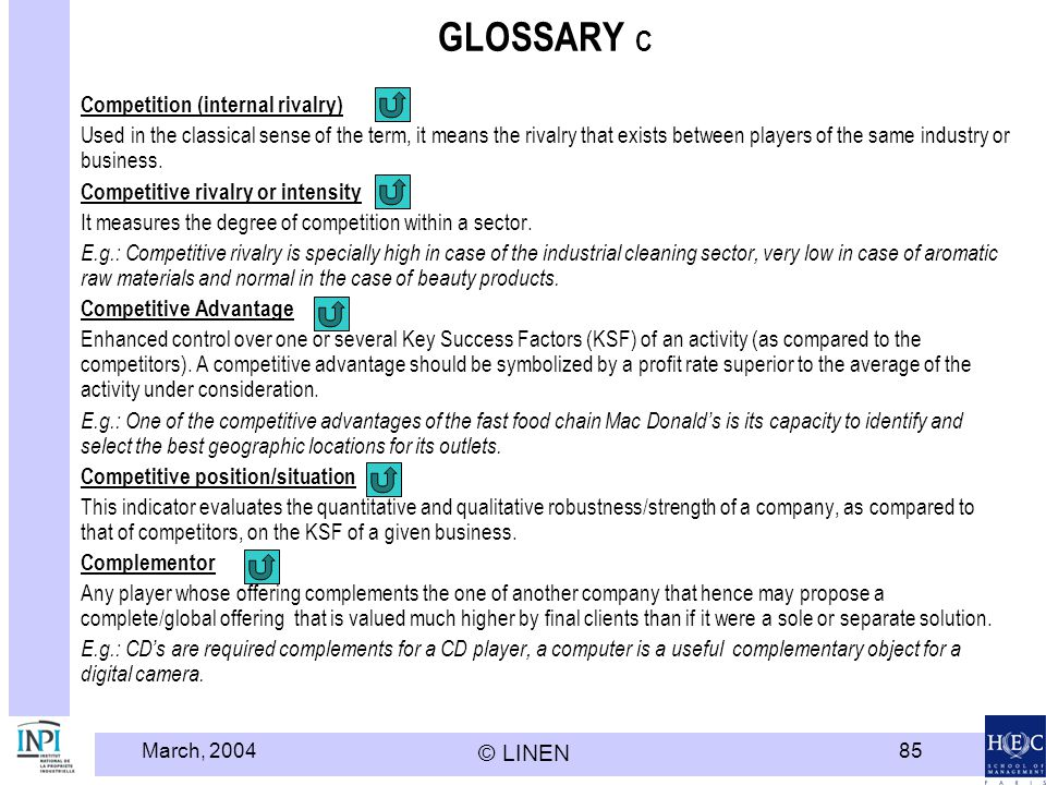 GLOSSARY C Competition (internal rivalry)