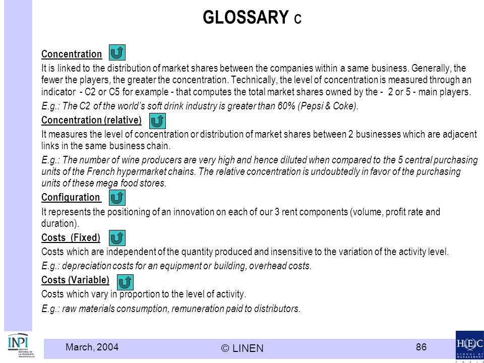 GLOSSARY C Concentration