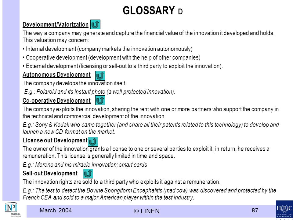 GLOSSARY D Development/Valorization