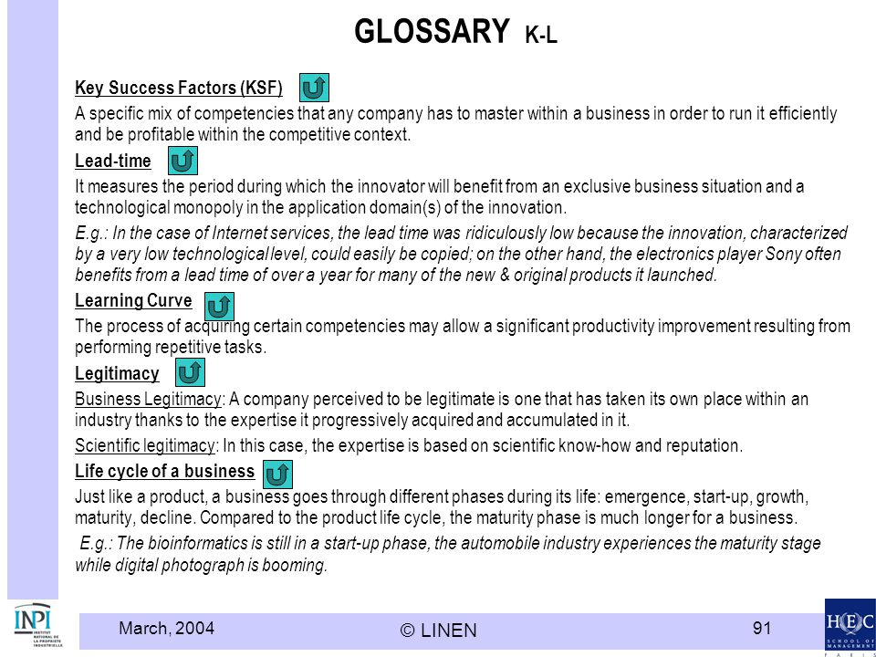 GLOSSARY K-L Key Success Factors (KSF)
