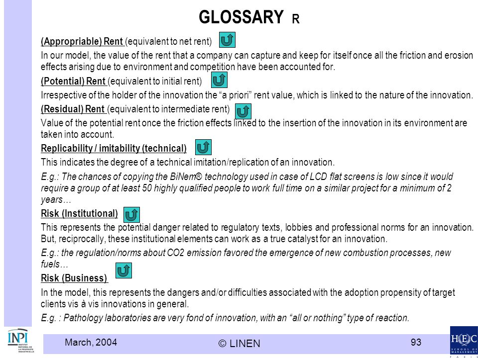 GLOSSARY R (Appropriable) Rent (equivalent to net rent)