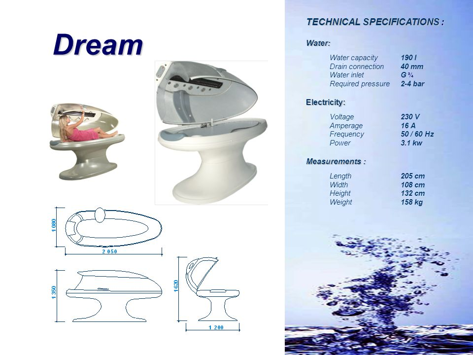 Dream TECHNICAL SPECIFICATIONS : Water: Electricity: Measurements :