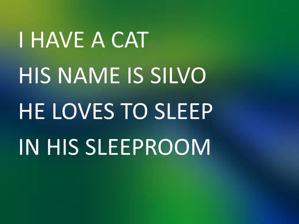 I HAVE A CAT HIS NAME IS SILVO HE LOVES TO SLEEP IN HIS SLEEPROOM