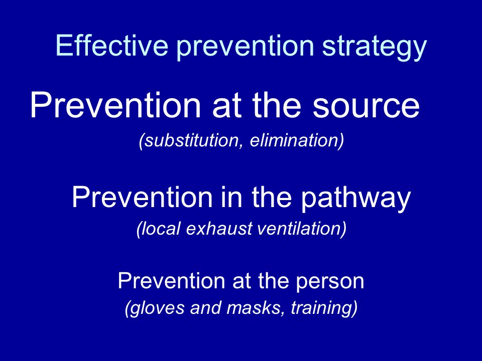 Effective prevention strategy