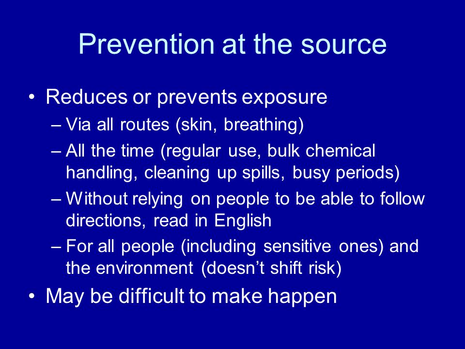 Prevention at the source