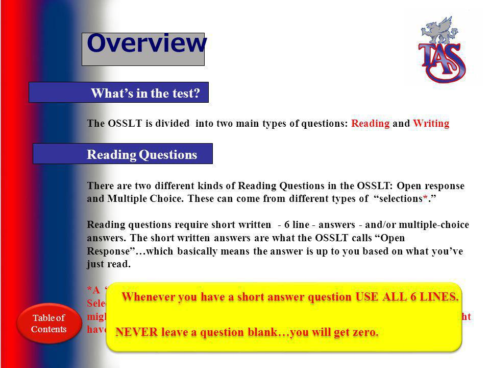 Overview What's in the test Reading Questions