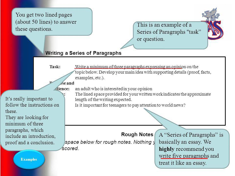 Series of Paragraphs Expressing an opinion
