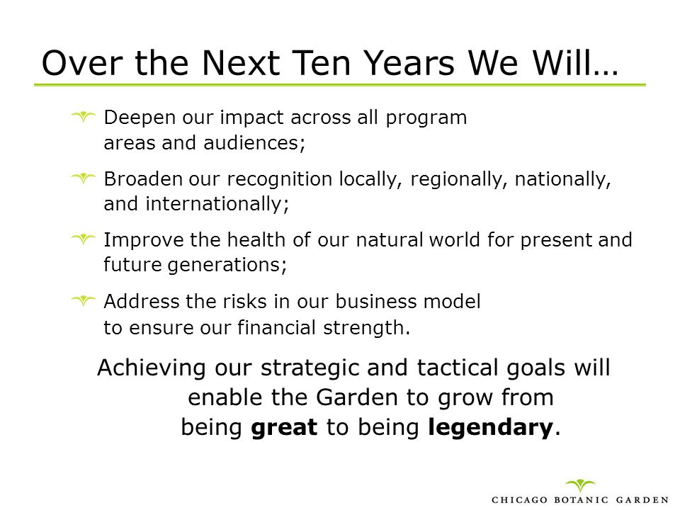 Over the Next Ten Years We Will…