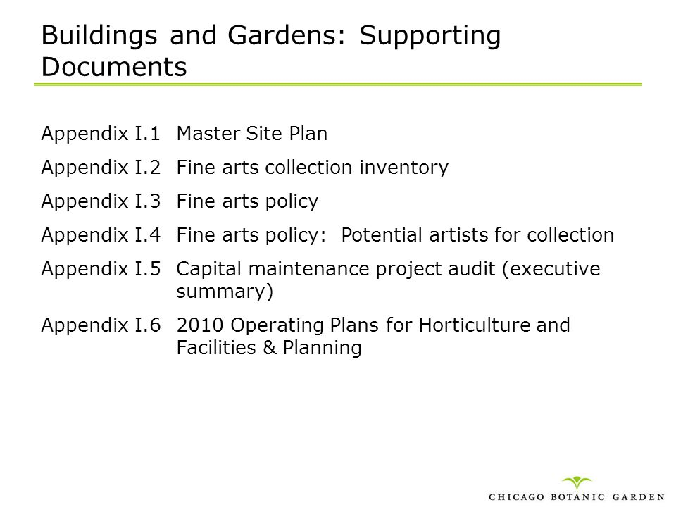 Buildings and Gardens: Supporting Documents