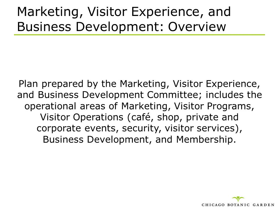 Marketing, Visitor Experience, and Business Development: Overview