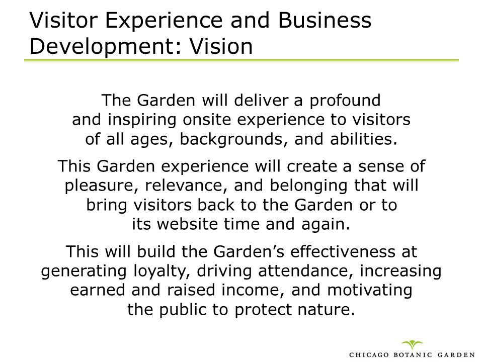 Visitor Experience and Business Development: Vision
