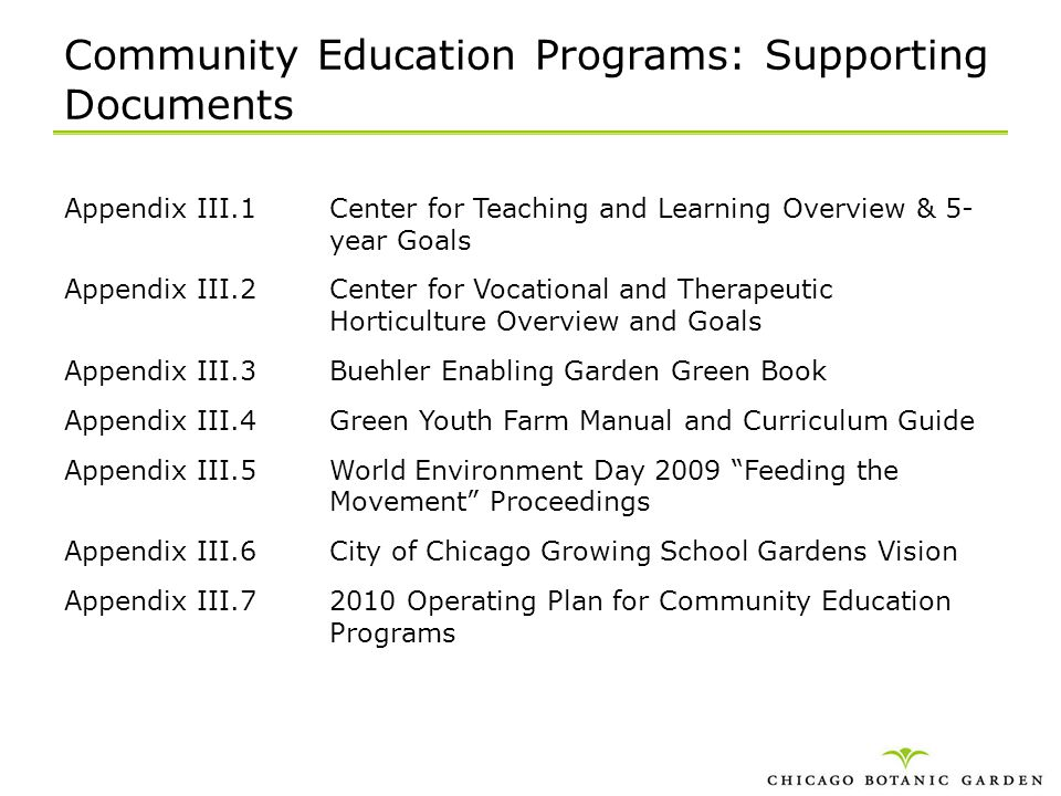 Community Education Programs: Supporting Documents