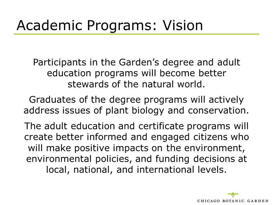 Academic Programs: Vision