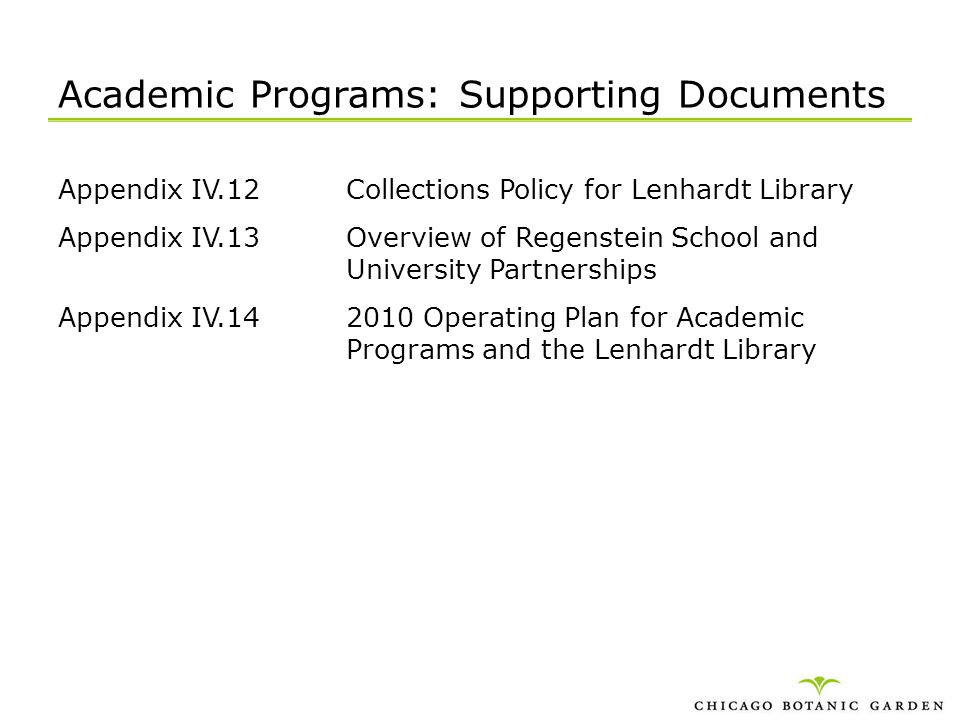 Academic Programs: Supporting Documents